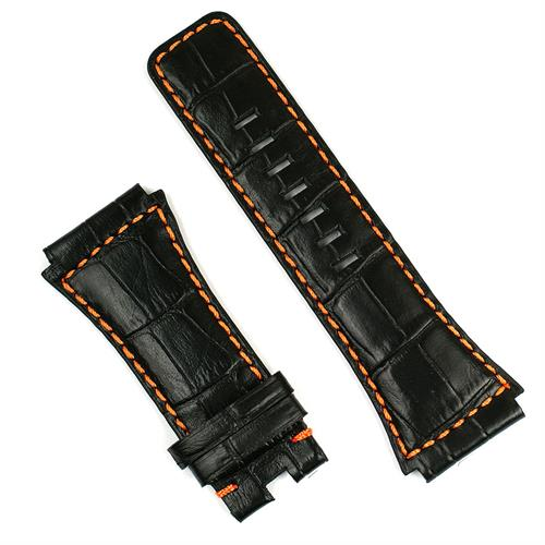 Watch strap for the bell and ross br02 watch in black gator leather with orange stitching
