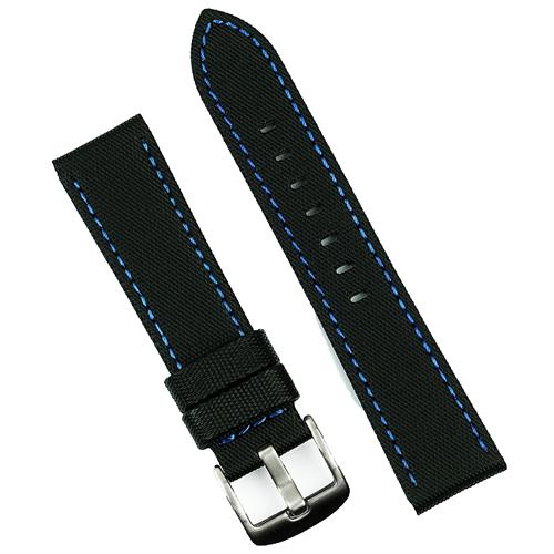 BandRBands 22mm Black Waterproof watch band strap with blue stitching sailcloth style