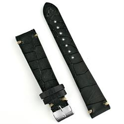 18mm Black Vintage Croco Watch Band Strap with ecru stitching