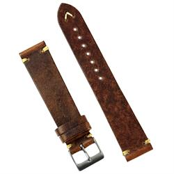 BandRBands 18mm 20mm 22mm Chestnut Vintage Leather Watch Band Strap with minimal ecru stitches
