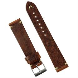 18mm Classic Vintage Leather Watch Band Strap in 18mm made from Chestnut Italian Leather with 2 minimal ecru handsewn stitching