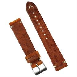 20mm Cognac Italian Leather Classic Vintage Watch Band Strap with 2 ecru handsewn minimal vintage stitches