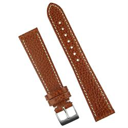 18mm Light Brown Textured Calfskin Leather Watch Band Strap with white contrasting stitching