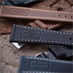 19mm Horween Leather Watch Bands Straps made from Chicagos Horween Chromexcel Leather with contrast white stitching