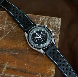Black Le Mans Racing Watch Strap Band on a Omega Speedmaster Moon Watch made from vintage Italian Leather