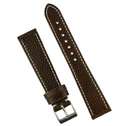 BandRBands 19mm Dark Brown Pebbled Calf Watch Band Strap with classic white stitching