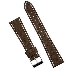 BandRBands 18mm 19mm 20mm Brown Hermes Leather Watch Band Strap with contrast white handsewn stitching