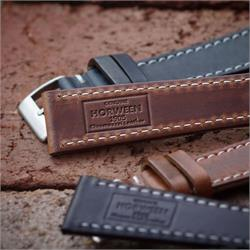 19mm Horween Chromexcel Leather Watch Bands Straps with a classic white stitch design