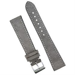 18mm 19mm 20mm Gray Italian Suede Watch Strap Band crafted in a white stitch classic design