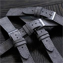 High quality 18mm Grey Italian Suede Watch Bands Straps made from premium Italian suede with a white contrasting stitch