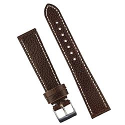 18mm Brown Textured Calf Classic Leather Watch Band Strap With contrast white stitching