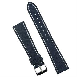 BandRBands Navy Hermes Watch Band strap made from French Leather with white stitching 18mm 19mm 20mm