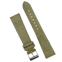 18mm Olive Classic Suede Watch Strap Band with white stitching