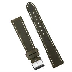 18mm Leather Watch Band Strap in Military Classic Leather with white stitching
