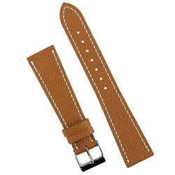 BandRBands 18mm Tan Hermes Watch Bans Strap with classic white stitching