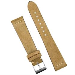 22mm Vintage Suede Watch Strap Band made from Beige Italian Leather with a matching stitch BandRBands