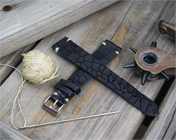 B & R Bands 18mm 20mm 22mm Vintage watch Band Strap made from Black italian Crocodile Leather