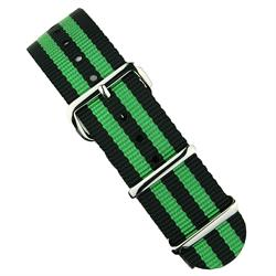 BandRBands 18mm 20mm 22mm Nato Strap Band in black & green with stainless steel hardware