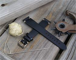 BandRBands 18mm Black Horween Chromexcel Vintage Leather Watch Strap Band with vintage ecru stitching