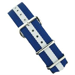 18mm 20mm 22mm Nato Strap Band in Blue & White with stainless steel hardware