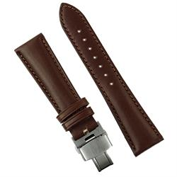 20mm 22mm Deployant Clasp Watch Band Strap made from Brown Italian Calf leather with a matching classic stitch design