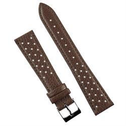 22mm Brown Grand Prix perforated Racing Rallye Watch Strap Band Made from grained Italian calf leather with a matching stitch BandRBands