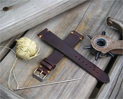 18mm Brown Horween Chromexcel Vintage Leather Watch Band Strap with Khaki minimal stitches