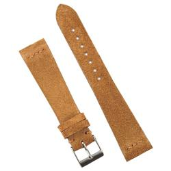 BandRBands 20mm Camel Brown Italian Vintage Suede Watch Band Strap with a minimal matching stitch