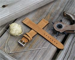 BandRBands 18mm Camel Vintage Suede Leather Watch Band Strap with matching stitching