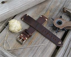 18mm Chestnut Classic Vintage Italian Leather Watch Strap Band with patina ecru stitching