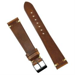 19mm Chicago Tan Horween Vintage Watch Band Strap made from Horweens Chromexcel Vintage Leather with a handsewn Ecru Waxed thread stitch