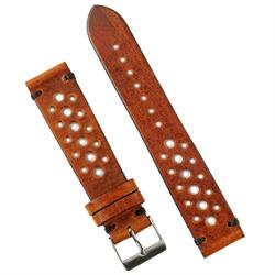 BandRBands 20mm Classic Vintage Racing Strap Band in Cognac Leather with black Stitching