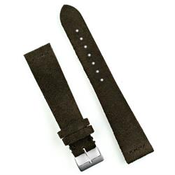 Suede Vintage Watch Band Strap in Dark Brown 18mm lug width