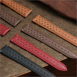 18mm 20mm 22mm Grained Calf Leather Racing Rallye Watch Strap Band Collection in black Tan Brown Red with a classic matching stitch