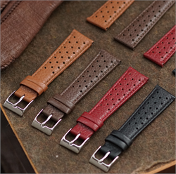 BandRBands 22mm Classic Leather Rallye Racing Watch Band Strap Collection in Italian grained calf leather with a quality stainless steel buckle