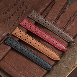 B & R Bands 22mm Corfam Heuer Racing Rallye Watch Band Strap Collection in 4 colors made from Italian Grained Calf leather Grand Prix Racing