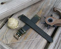 18mm 20mm 22mm Classic Vintage Watch Strap Band made from Chicago's genuine Horween Chromexcel Leather with Khaki Stitching