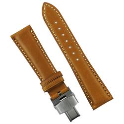 20mm 22mm Honey Horween Deployant Leather Watch Band Strap with a white contrast stitch