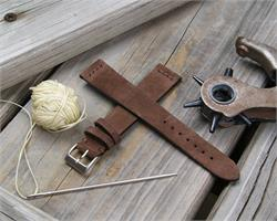 18mm Mocha Sueded Leather Vintage Watch Strap Band with a self stitch