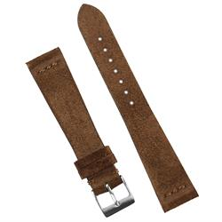 20mm Mocha Brown Suede Watch Band Strap in a Vintage design