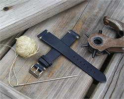 18mm Navy Horween Chromexcel Vintage Leather Watch Band Strap with ecru minimal stitches