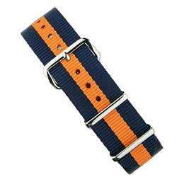 18mm 20mm 22mm Nato Strap Band in Orange & Navy with stainless steel hardware