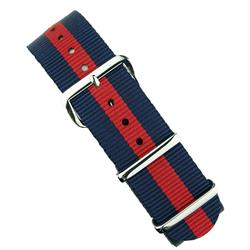 18mm 20mm 22mm Nato Watch Strap Band in Navy & Red with Stainless steel hardware BandRBands