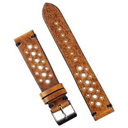18mm Oak Italian Leather vintage Racing Watch Strap Band with handsewn black stitching BandRBands