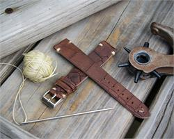 BandRBands 18mm 20mm 22mm Vintage Watch Band made from Italian embossed leather with ecru stitching
