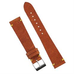 20mm Rust Horween Vintage Watch Band Strap made from Horweens pull up crazy horse vintage Leather with a handsewn Khaki Waxed thread stitch