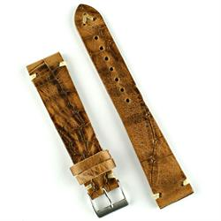 18mm 20mm 22mm Whiskey Vintage Croco Watch Strap Band made from Italian Leather with handsewn ecru stitching