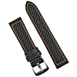 BandRBands 24mm Carbon Fiber Watch Band Strap with Orange stitching