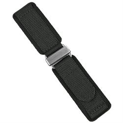 20mm Velcro Watch Band made from quality nylon in black with stainless steel buckle