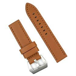 22mm golden heritage leather watch band with self stitching